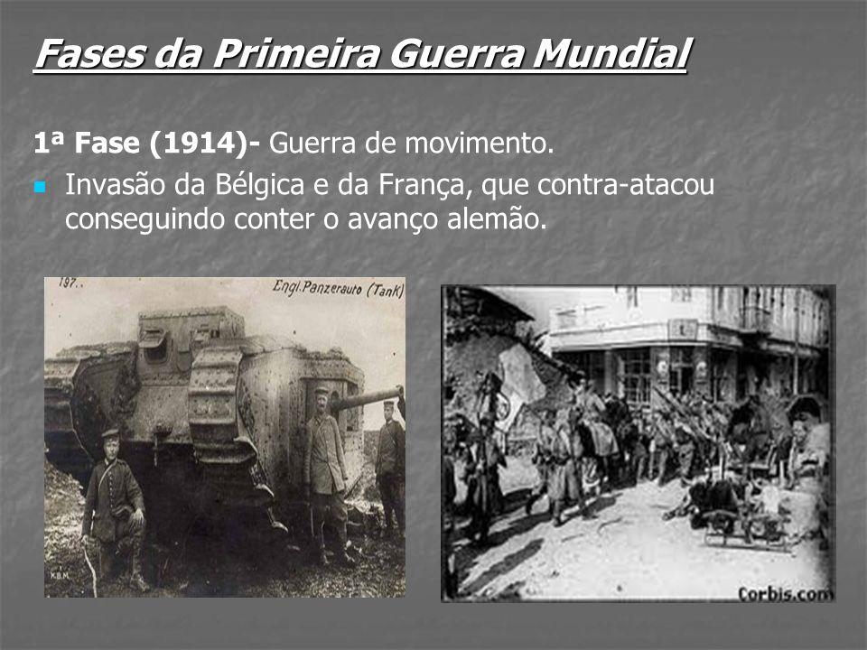 2ª Fase (1915-1916): Guerra de trincheiras: Em 1915, a Itália, que até então se mantivera neutra, traiu a aliança que fizera com a Alemanha e entrou na guerra ao lado da Tríplice Entente.