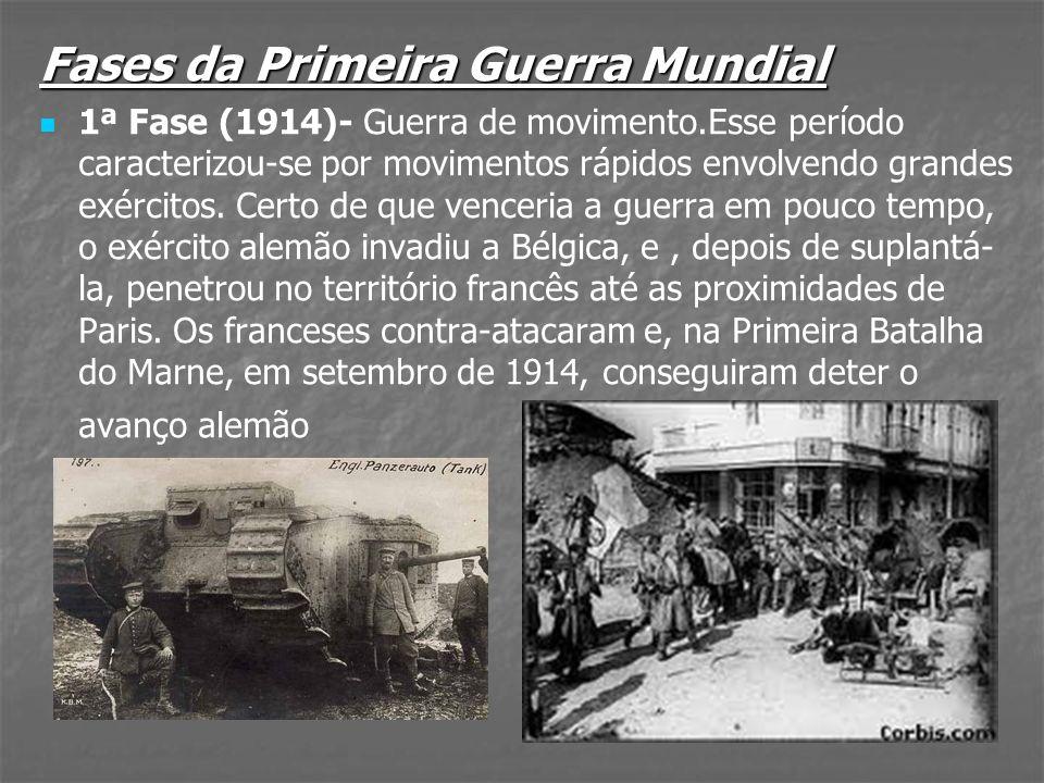 Fases da Primeira Guerra Mundial 1ª Fase (1914)- Guerra de movimento.Esse período caracterizou-se por movimentos rápidos envolvendo grandes exércitos.