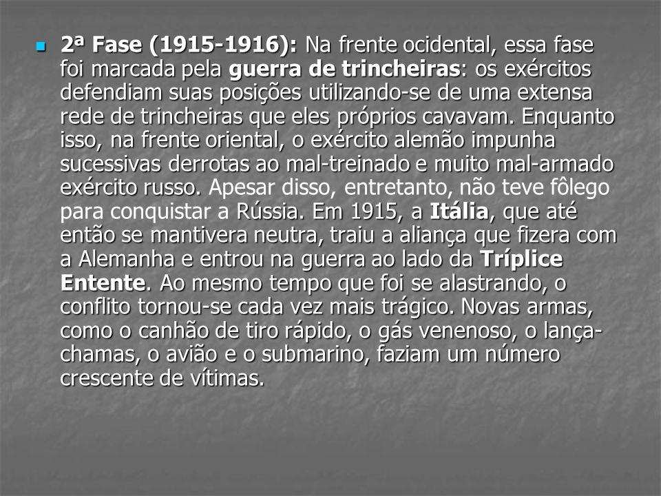 2ª Fase (1915-1916): Na frente ocidental, essa fase foi marcada pela guerra de trincheiras: os exércitos defendiam suas posições utilizando-se de uma