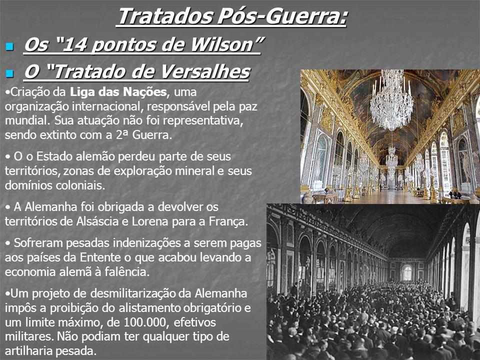 Tratados Pós-Guerra: Os 14 pontos de Wilson Os 14 pontos de Wilson O Tratado de Versalhes O Tratado de Versalhes Criação da Liga das Nações, uma organ