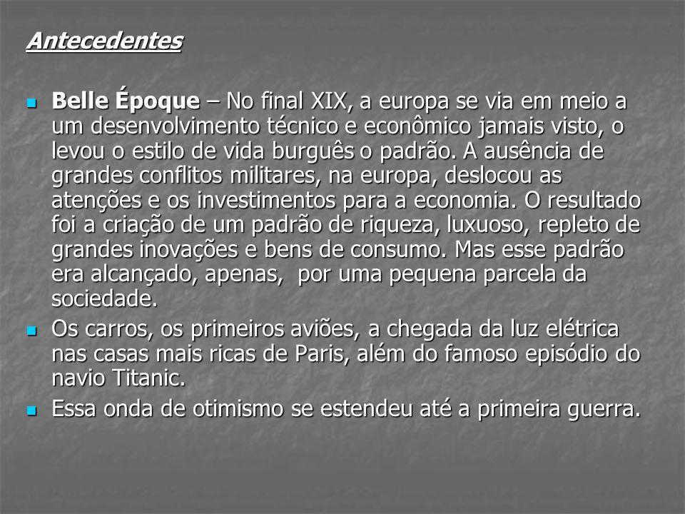 Antecedentes Belle Époque – No final XIX, a europa se via em meio a um desenvolvimento técnico e econômico jamais visto, o levou o estilo de vida burg