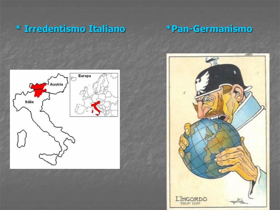 * Irredentismo Italiano *Pan-Germanismo * Irredentismo Italiano *Pan-Germanismo