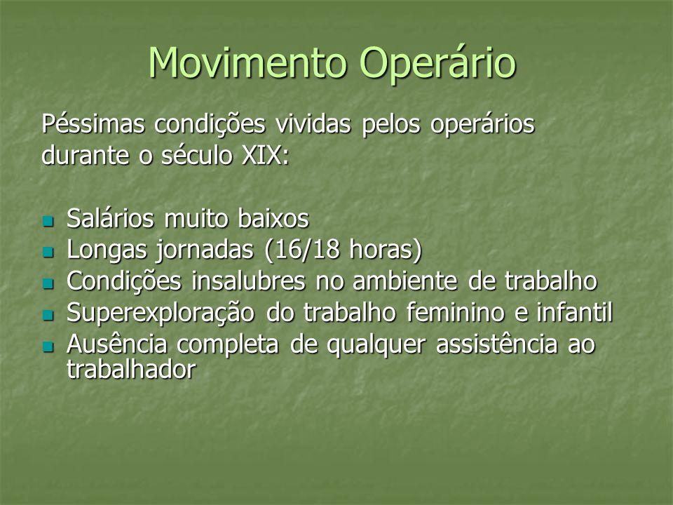 Movimento Operário Péssimas condições vividas pelos operários durante o século XIX: Salários muito baixos Salários muito baixos Longas jornadas (16/18