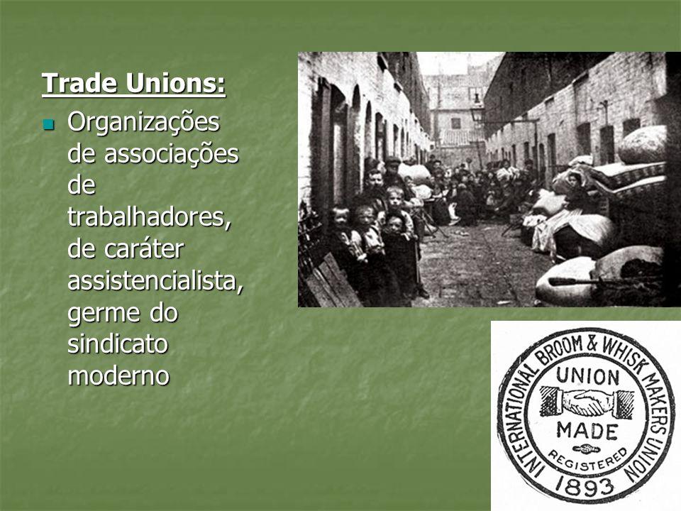Trade Unions: Organizações de associações de trabalhadores, de caráter assistencialista, germe do sindicato moderno Organizações de associações de tra