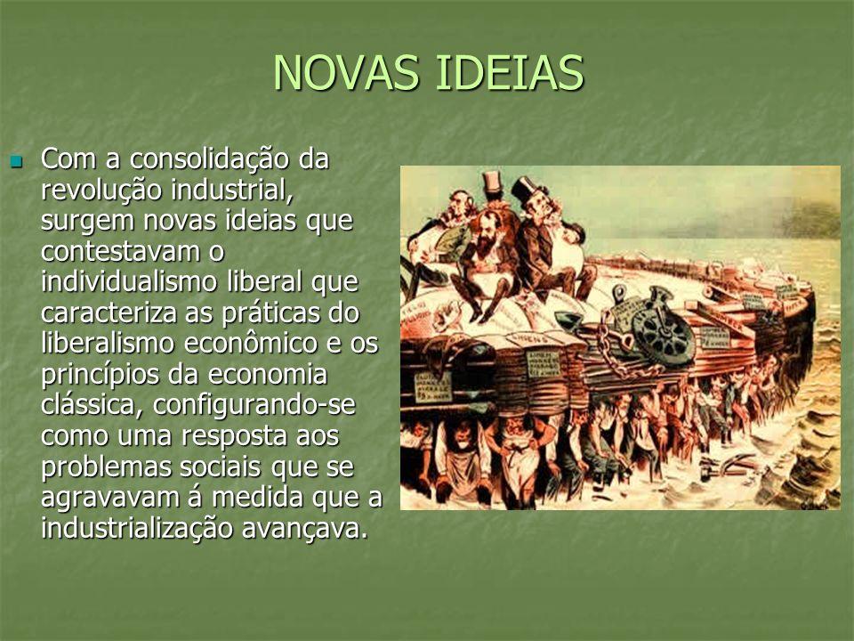 NOVAS IDEIAS Com a consolidação da revolução industrial, surgem novas ideias que contestavam o individualismo liberal que caracteriza as práticas do l