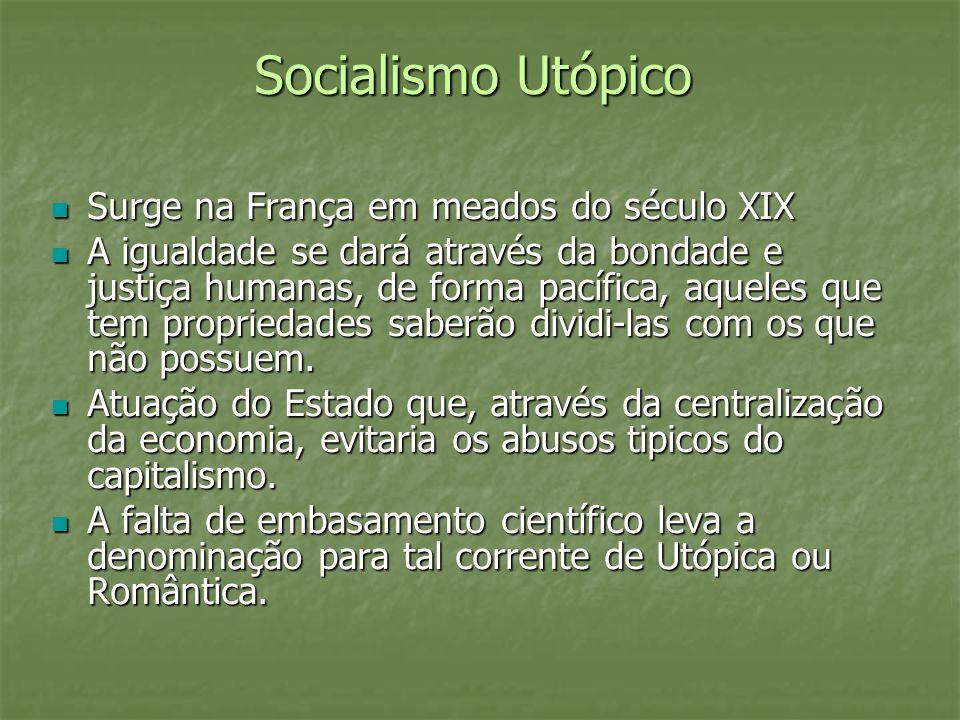 Socialismo Utópico Surge na França em meados do século XIX Surge na França em meados do século XIX A igualdade se dará através da bondade e justiça hu