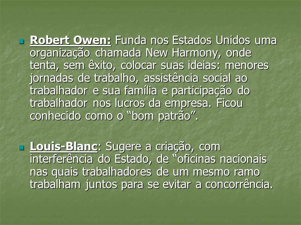 Robert Owen: Funda nos Estados Unidos uma organização chamada New Harmony, onde tenta, sem êxito, colocar suas ideias: menores jornadas de trabalho, a