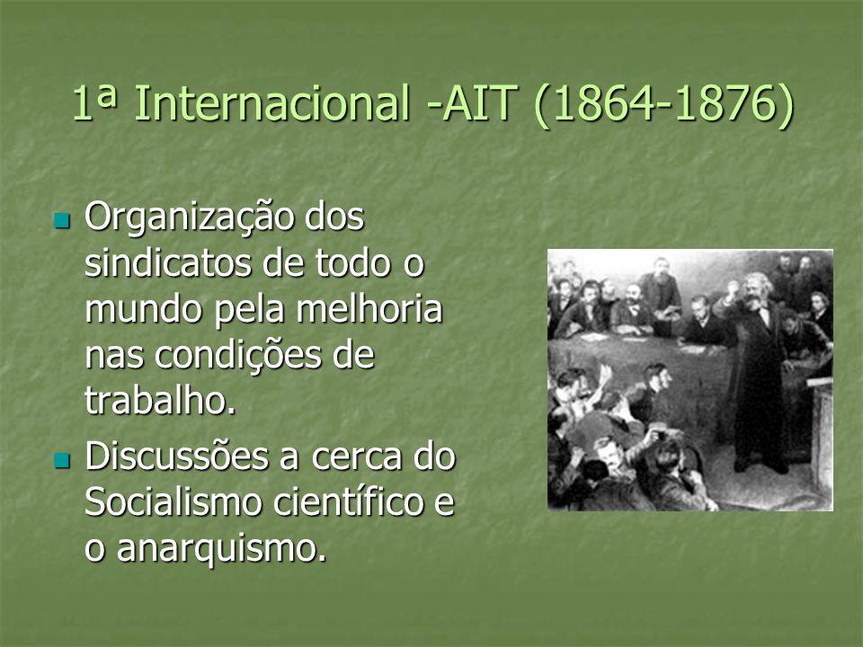 1ª Internacional -AIT (1864-1876) Organização dos sindicatos de todo o mundo pela melhoria nas condições de trabalho. Organização dos sindicatos de to