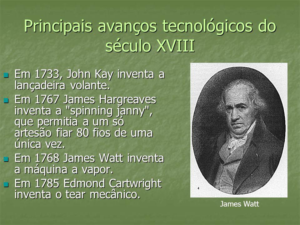 Principais avanços tecnológicos do século XVIII Em 1733, John Kay inventa a lançadeira volante. Em 1733, John Kay inventa a lançadeira volante. Em 176
