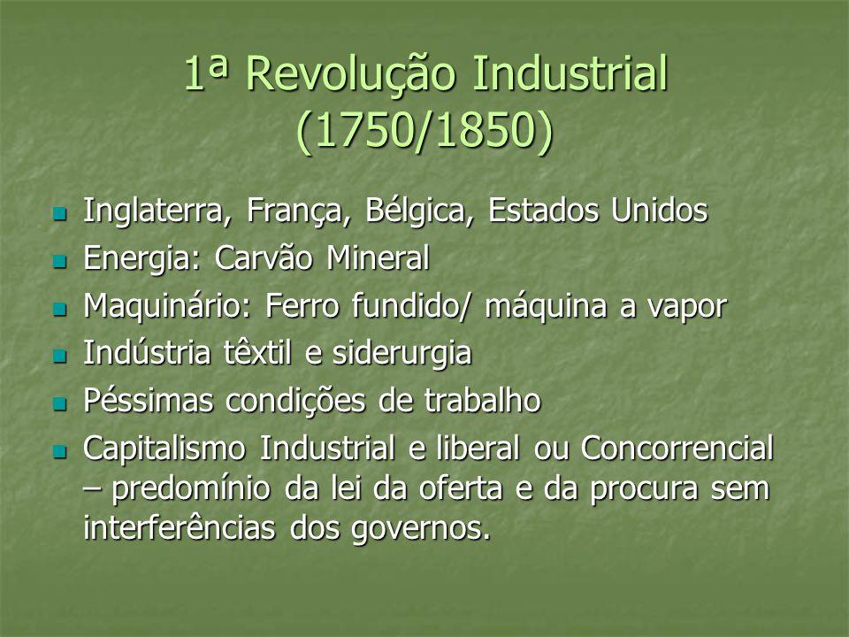 1ª Revolução Industrial (1750/1850) Inglaterra, França, Bélgica, Estados Unidos Inglaterra, França, Bélgica, Estados Unidos Energia: Carvão Mineral En