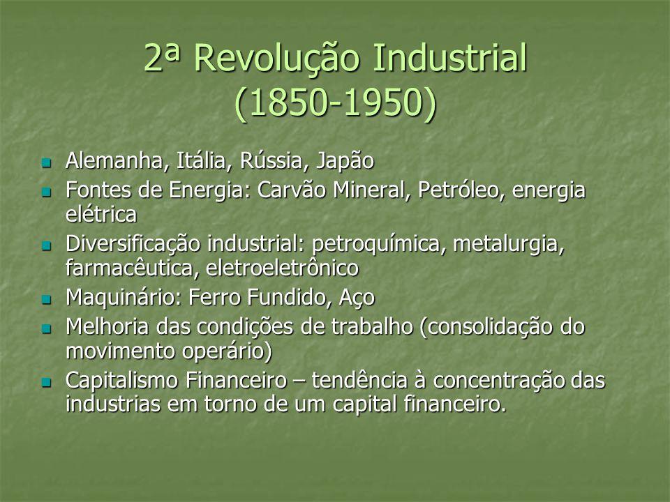 2ª Revolução Industrial (1850-1950) Alemanha, Itália, Rússia, Japão Alemanha, Itália, Rússia, Japão Fontes de Energia: Carvão Mineral, Petróleo, energ