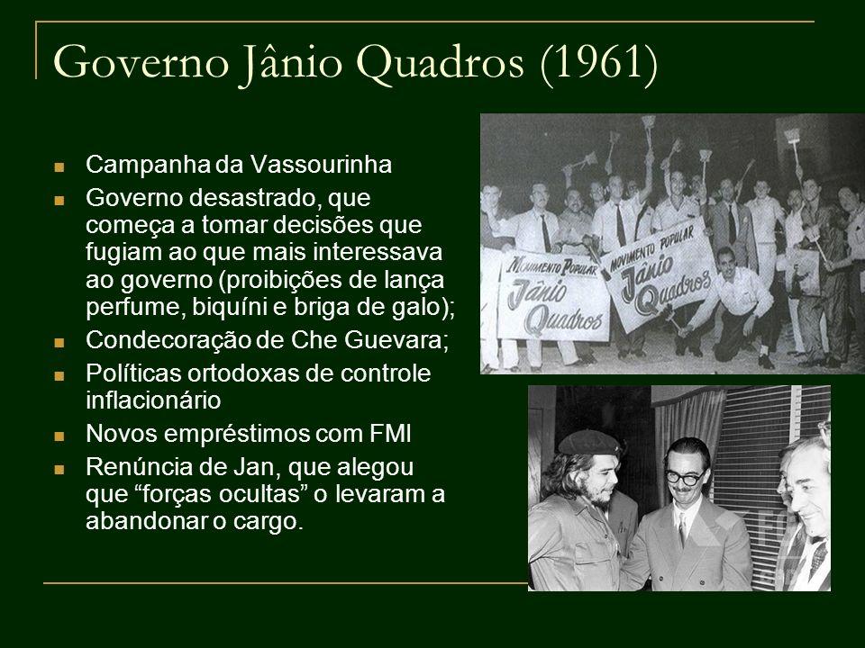 Governo Jânio Quadros (1961) Campanha da Vassourinha Governo desastrado, que começa a tomar decisões que fugiam ao que mais interessava ao governo (pr