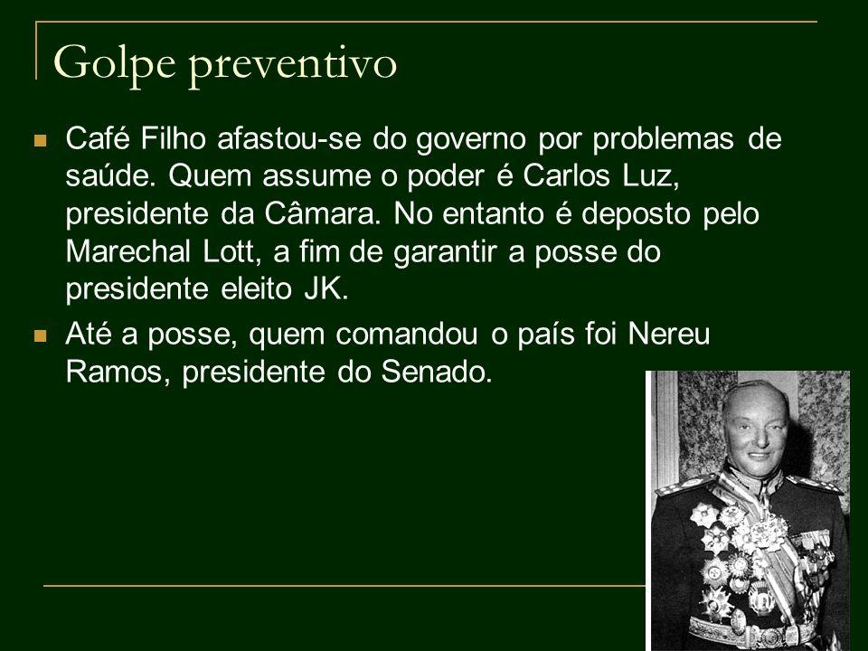 Golpe preventivo Café Filho afastou-se do governo por problemas de saúde. Quem assume o poder é Carlos Luz, presidente da Câmara. No entanto é deposto