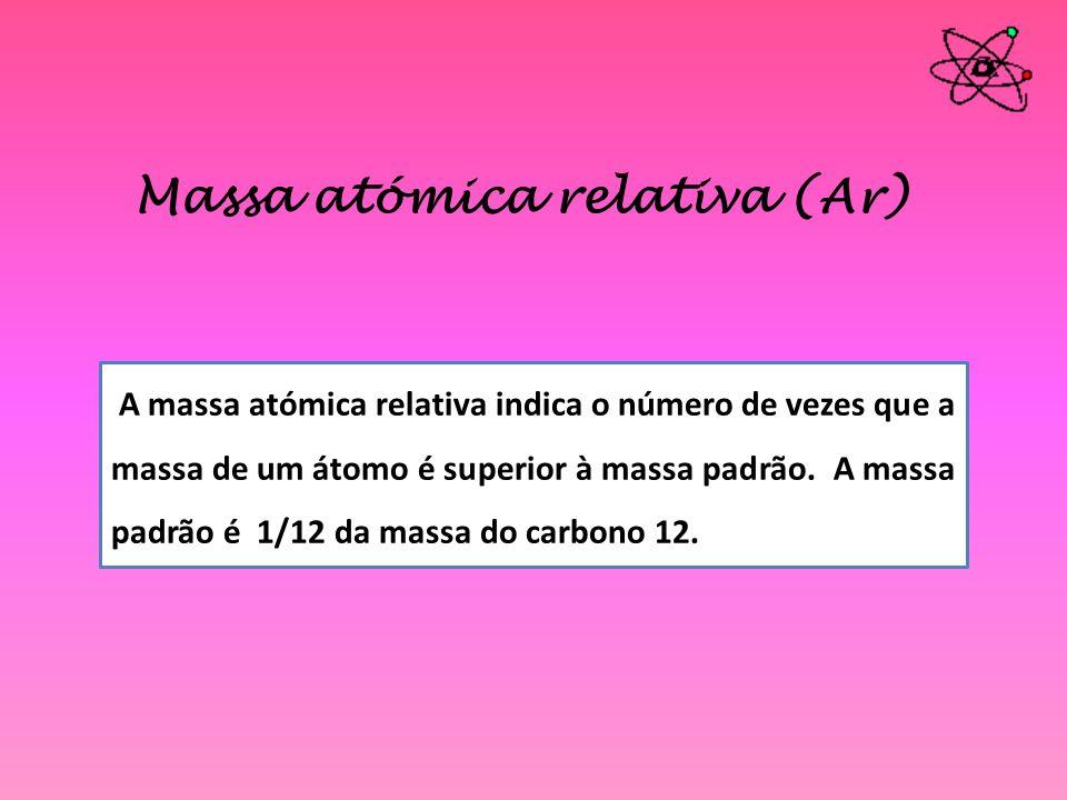 Massa atómica relativa (Ar) A massa atómica relativa indica o número de vezes que a massa de um átomo é superior à massa padrão. A massa padrão é 1/12