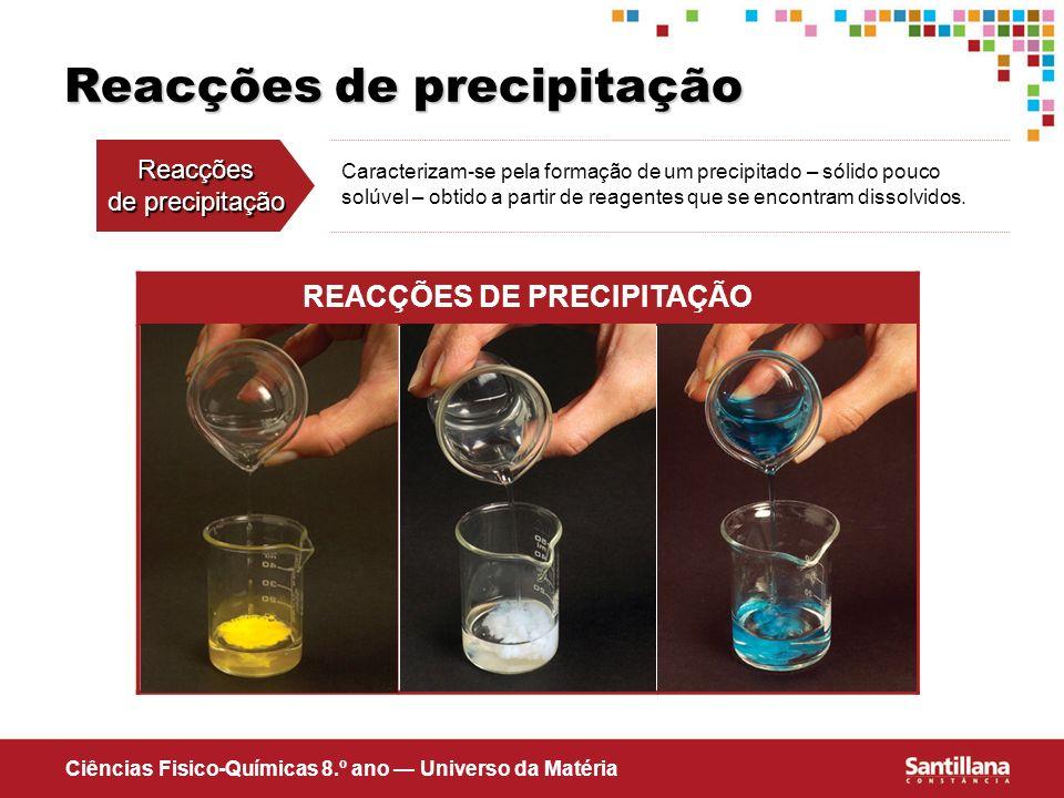 Ciências Fisico-Químicas 8.º ano Universo da Matéria Reacções de precipitação Reacções de precipitação Caracterizam-se pela formação de um precipitado