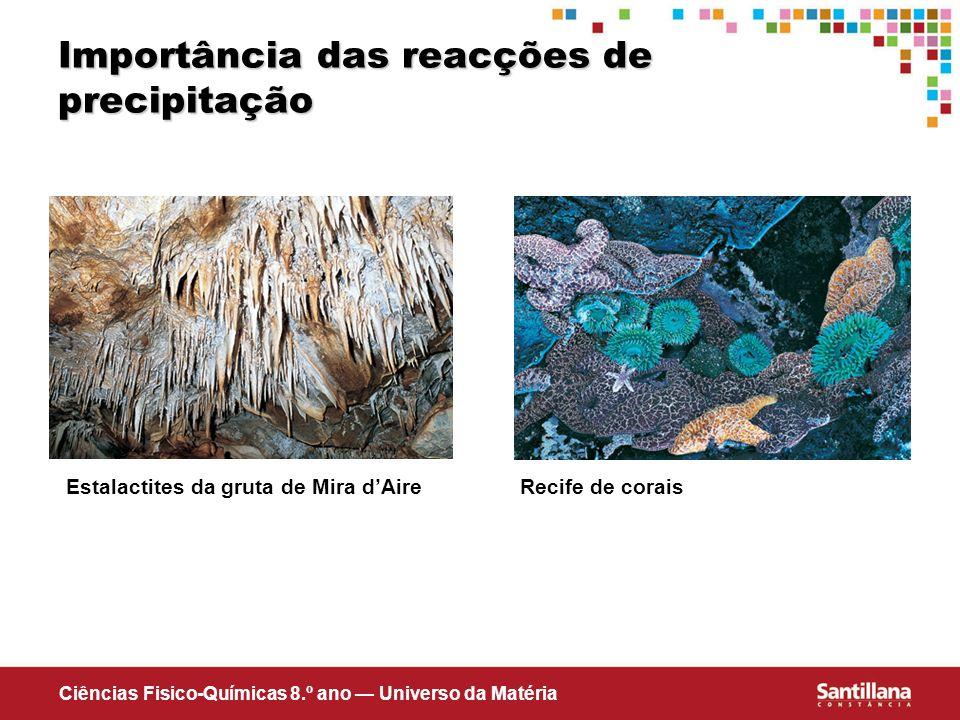 Ciências Fisico-Químicas 8.º ano Universo da Matéria Importância das reacções de precipitação Estalactites da gruta de Mira dAireRecife de corais