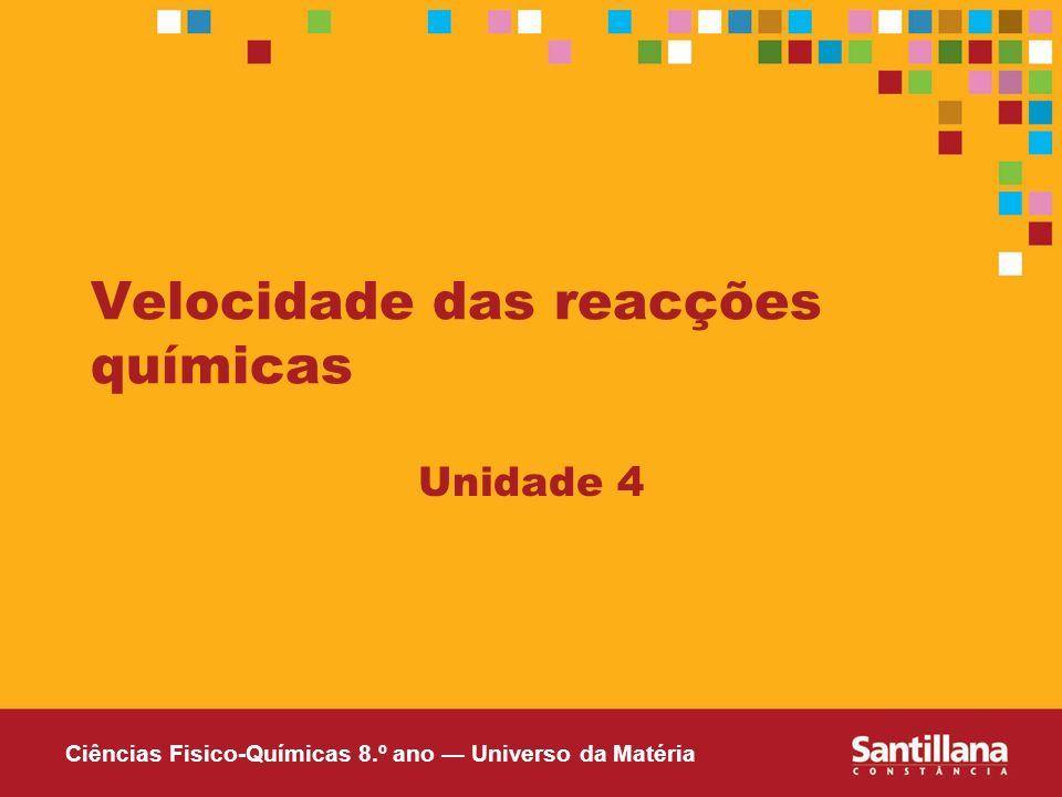 Ciências Fisico-Químicas 8.º ano Universo da Matéria Velocidade das reacções químicas Unidade 4
