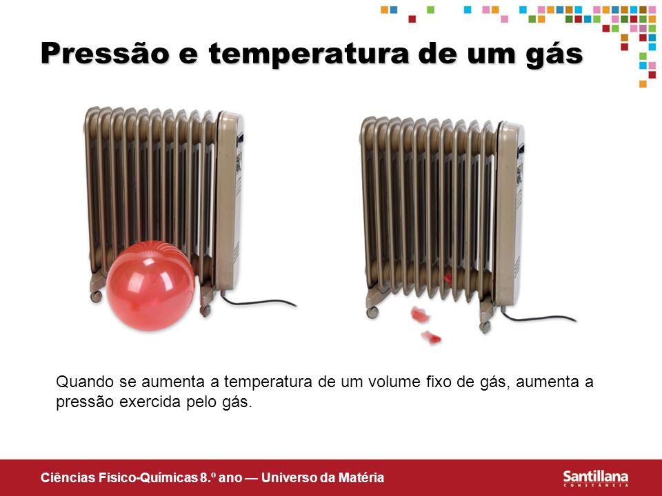 Ciências Fisico-Químicas 8.º ano Universo da Matéria Pressão e temperatura de um gás Quando se aumenta a temperatura de um volume fixo de gás, aumenta