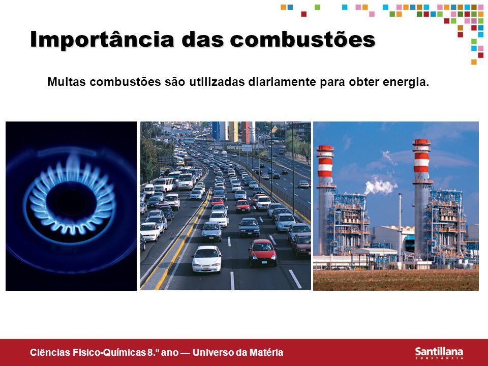 Ciências Fisico-Químicas 8.º ano Universo da Matéria Importância das combustões Muitas combustões são utilizadas diariamente para obter energia.