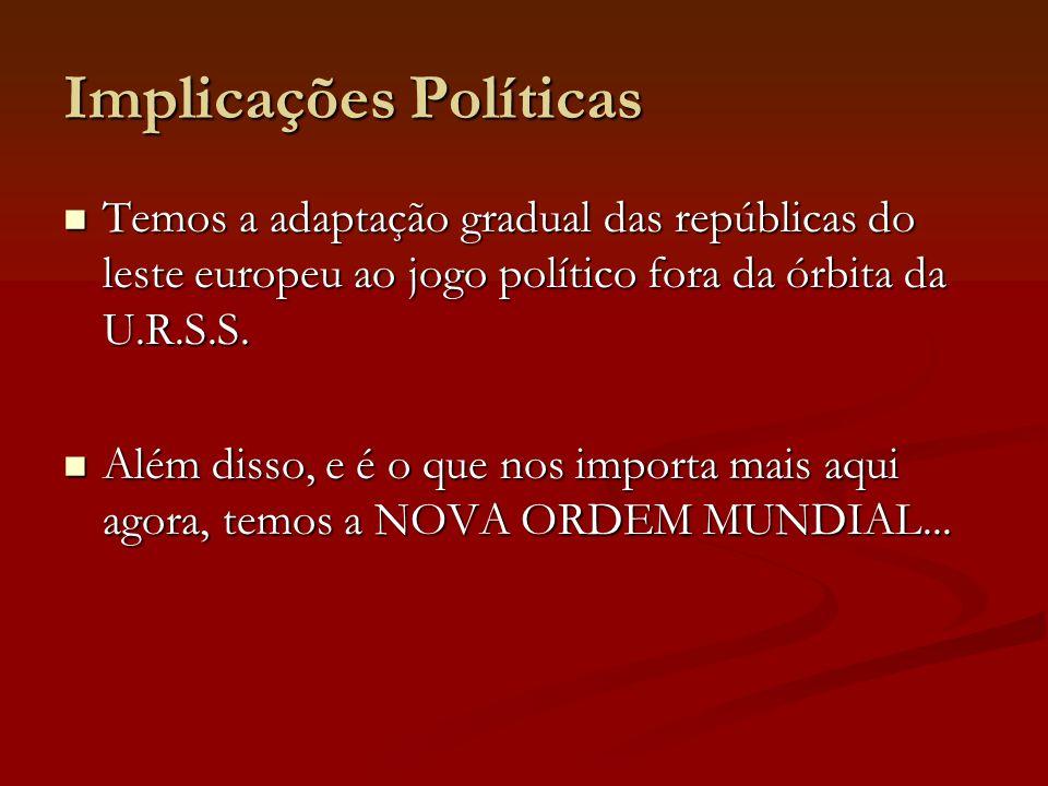 Implicações Políticas Temos a adaptação gradual das repúblicas do leste europeu ao jogo político fora da órbita da U.R.S.S. Temos a adaptação gradual
