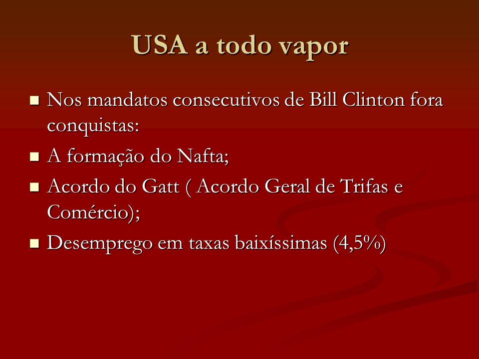 USA a todo vapor Nos mandatos consecutivos de Bill Clinton fora conquistas: Nos mandatos consecutivos de Bill Clinton fora conquistas: A formação do Nafta; A formação do Nafta; Acordo do Gatt ( Acordo Geral de Trifas e Comércio); Acordo do Gatt ( Acordo Geral de Trifas e Comércio); Desemprego em taxas baixíssimas (4,5%) Desemprego em taxas baixíssimas (4,5%)