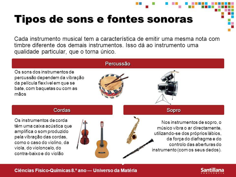 Ciências Fisico-Químicas 8.º ano Universo da Matéria Tipos de sons e fontes sonoras Cada instrumento musical tem a característica de emitir uma mesma