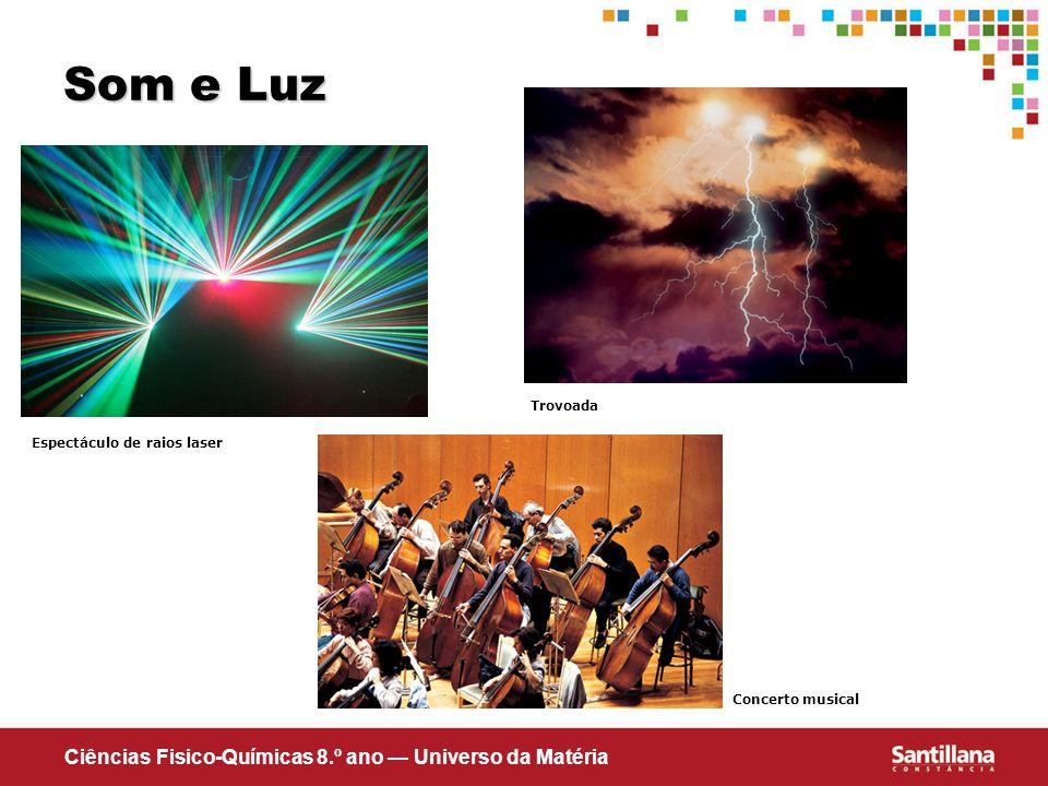 Ciências Fisico-Químicas 8.º ano Universo da Matéria Som e Luz Espectáculo de raios laser Concerto musical Trovoada