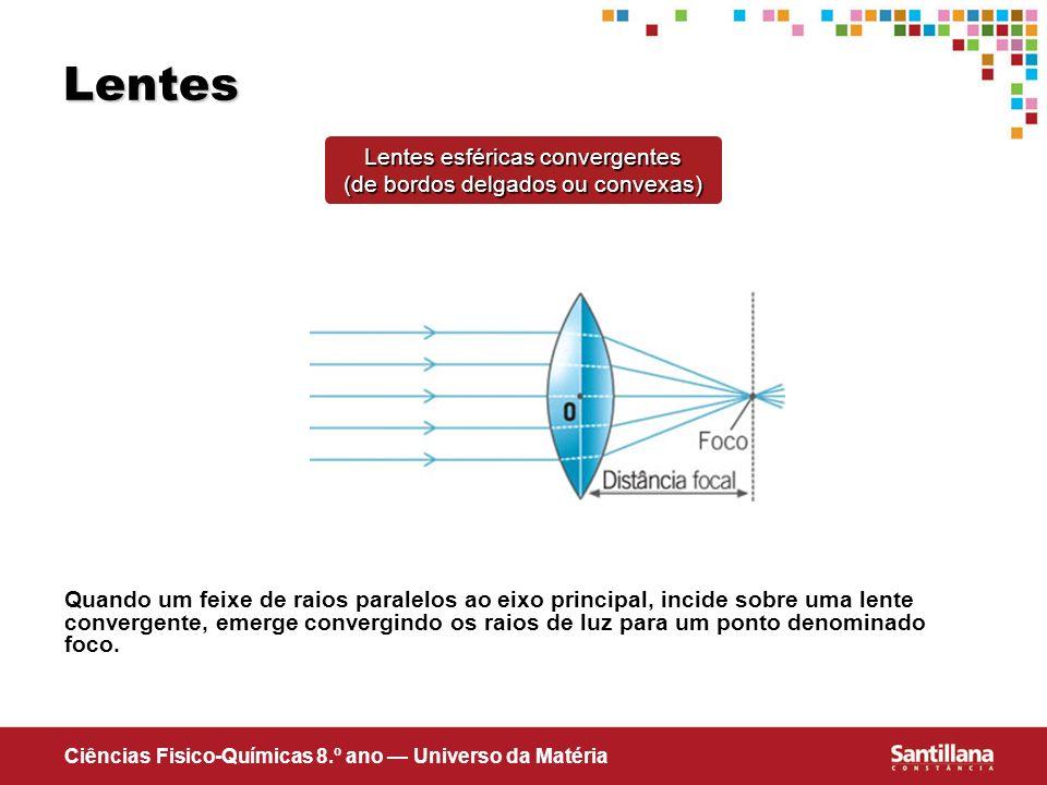Ciências Fisico-Químicas 8.º ano Universo da Matéria Lentes Lentes esféricas convergentes (de bordos delgados ou convexas) Quando um feixe de raios pa