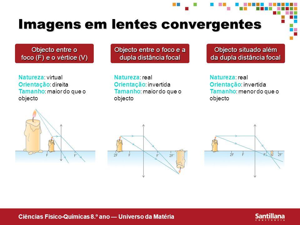Ciências Fisico-Químicas 8.º ano Universo da Matéria Imagens em lentes convergentes Natureza: virtual Orientação: direita Tamanho: maior do que o obje