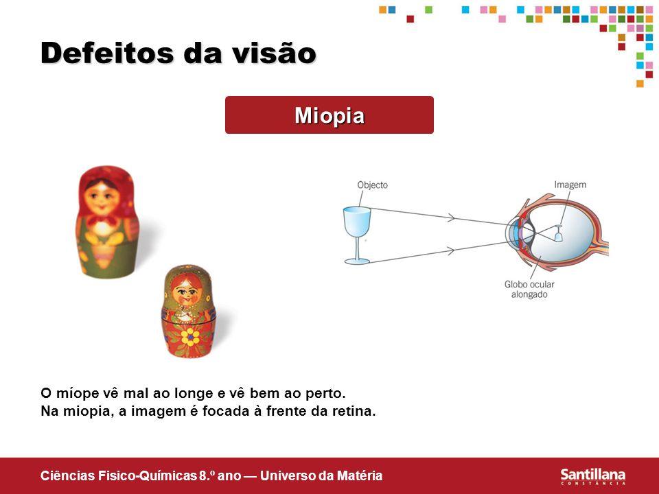 Ciências Fisico-Químicas 8.º ano Universo da Matéria Defeitos da visão Miopia O míope vê mal ao longe e vê bem ao perto. Na miopia, a imagem é focada