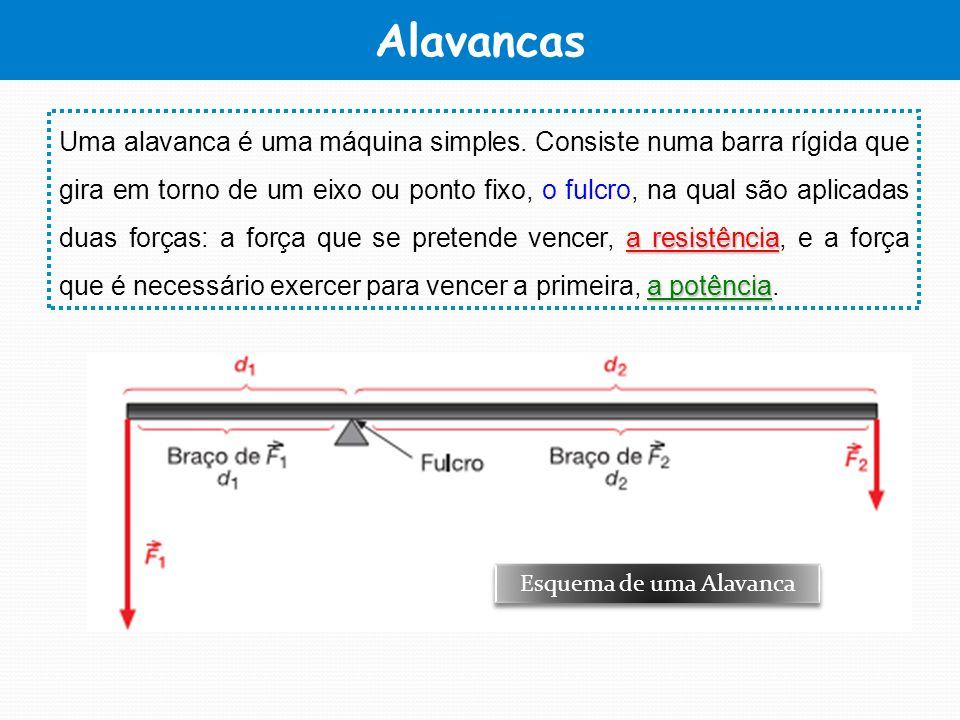 Alavancas a resistência a potência Uma alavanca é uma máquina simples. Consiste numa barra rígida que gira em torno de um eixo ou ponto fixo, o fulcro