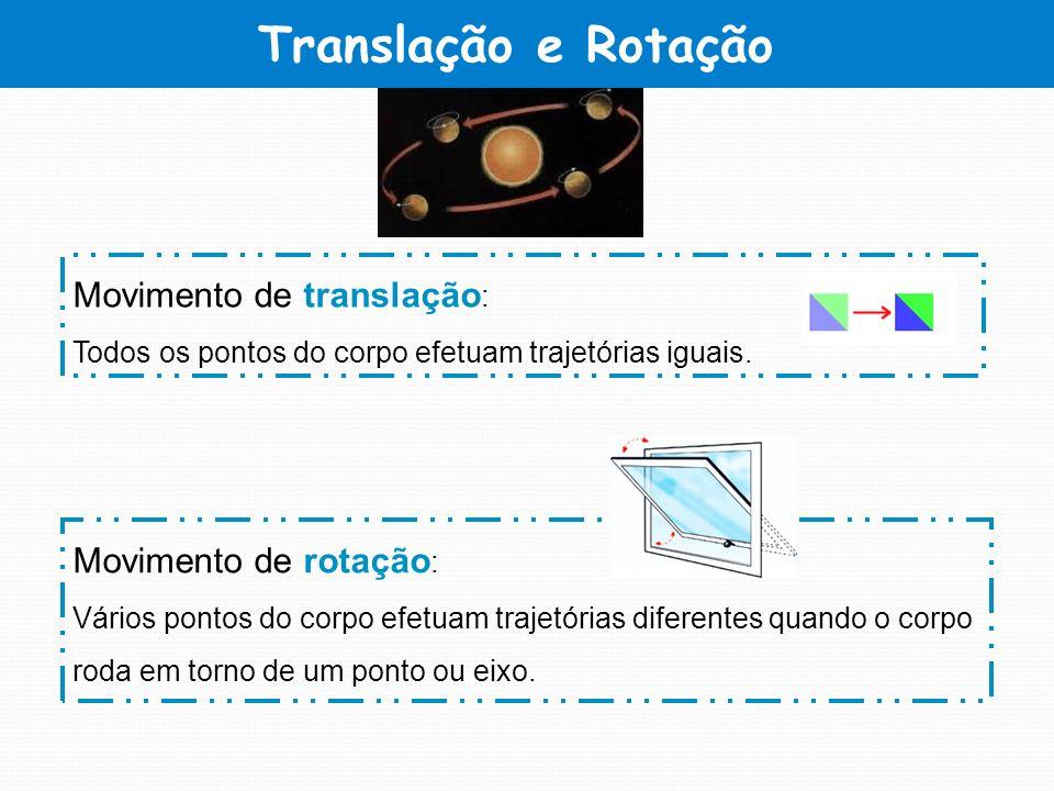 Translação e Rotação Movimento de translação : Todos os pontos do corpo efetuam trajetórias iguais. Movimento de rotação : Vários pontos do corpo efet