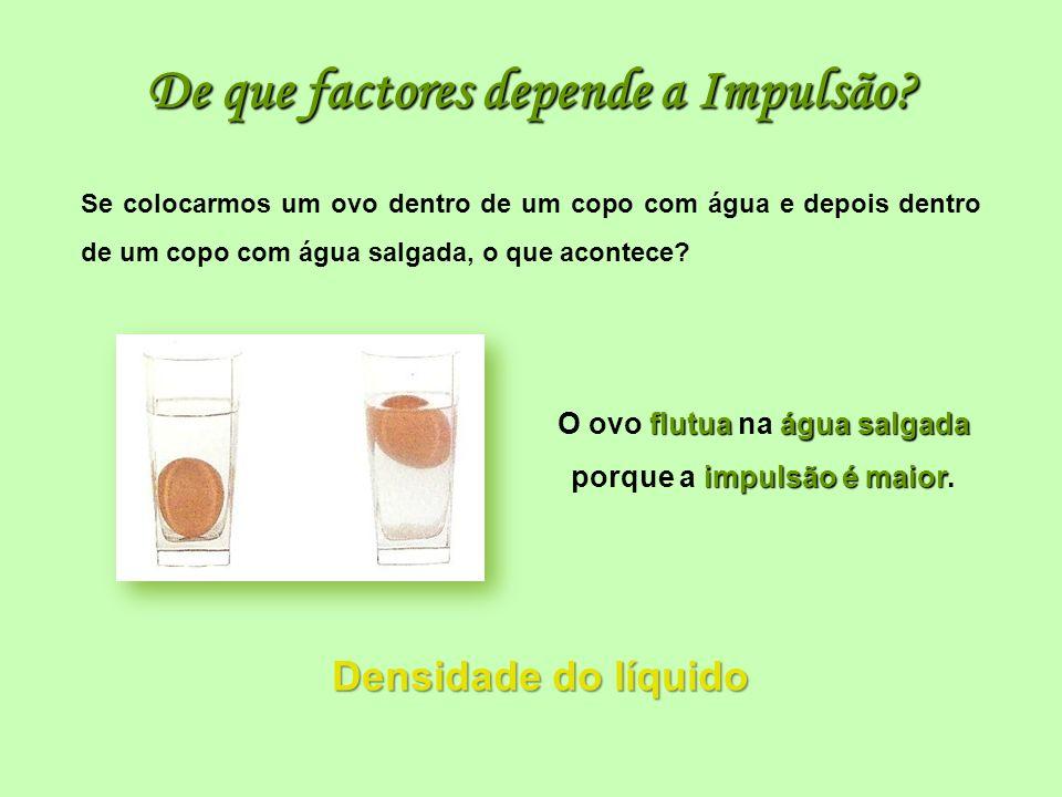 De que factores depende a Impulsão? Densidade do líquido Densidade do líquido flutuaágua salgada impulsão é maior O ovo flutua na água salgada porque