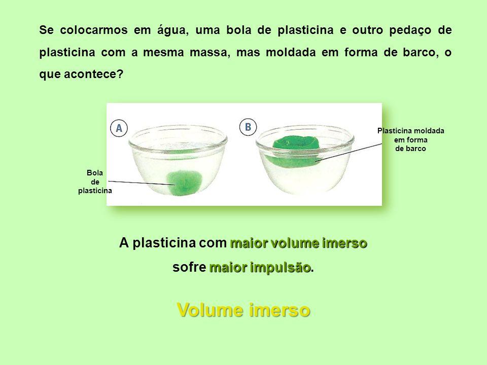 Bola de plasticina Plasticina moldada em forma de barco maior volume imerso A plasticina com maior volume imerso maior impulsão sofre maior impulsão.