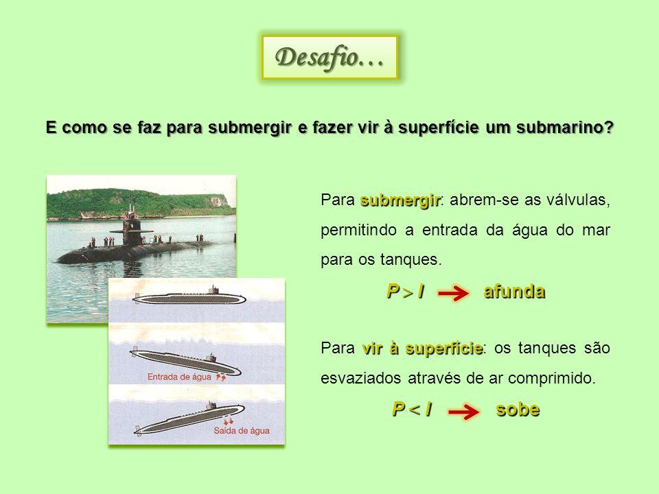 E como se faz para submergir e fazer vir à superfície um submarino? Desafio…Desafio… submergir Para submergir: abrem-se as válvulas, permitindo a entr