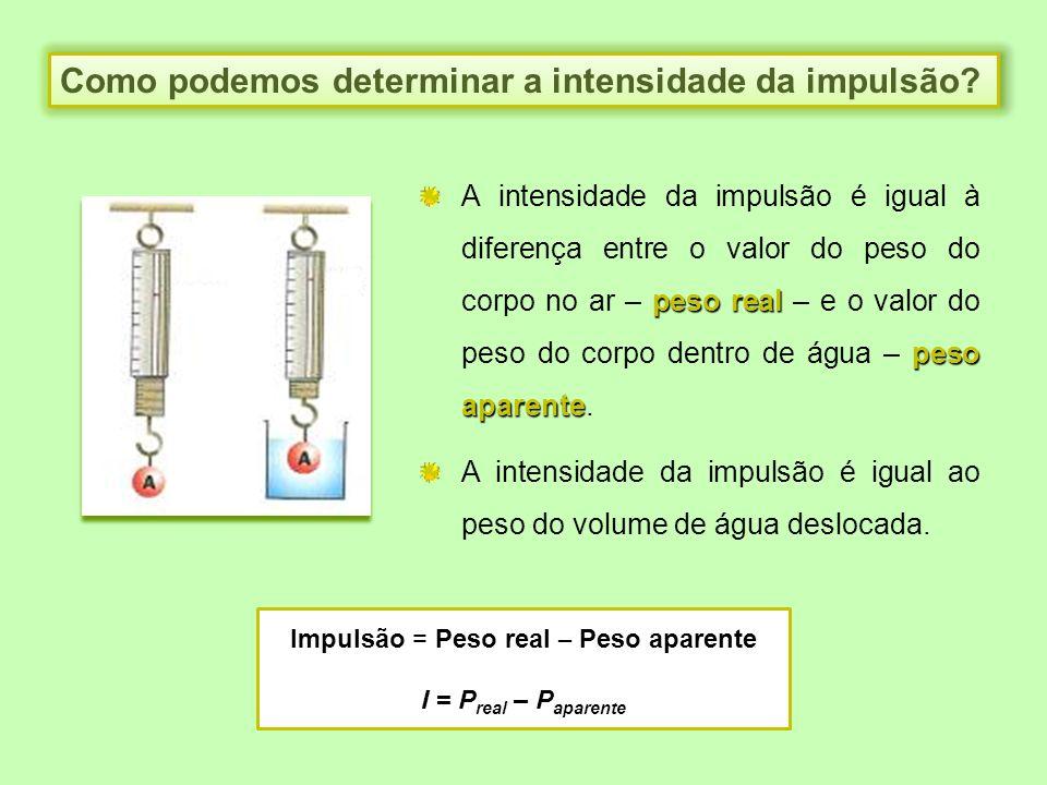 Como podemos determinar a intensidade da impulsão? peso real peso aparente A intensidade da impulsão é igual à diferença entre o valor do peso do corp