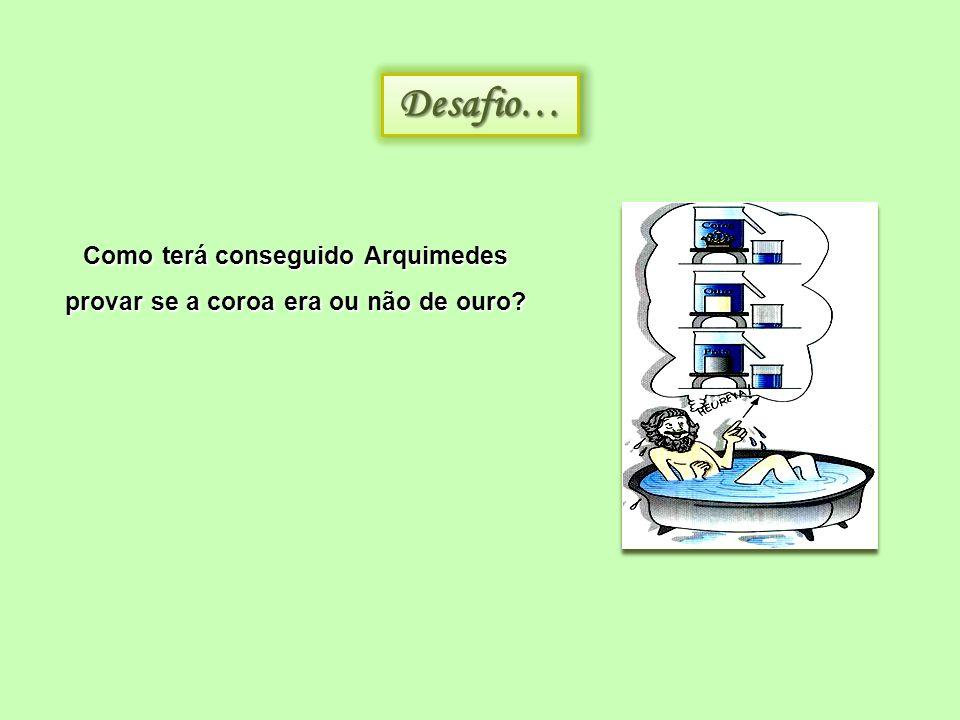 Desafio…Desafio… Como terá conseguido Arquimedes provar se a coroa era ou não de ouro?
