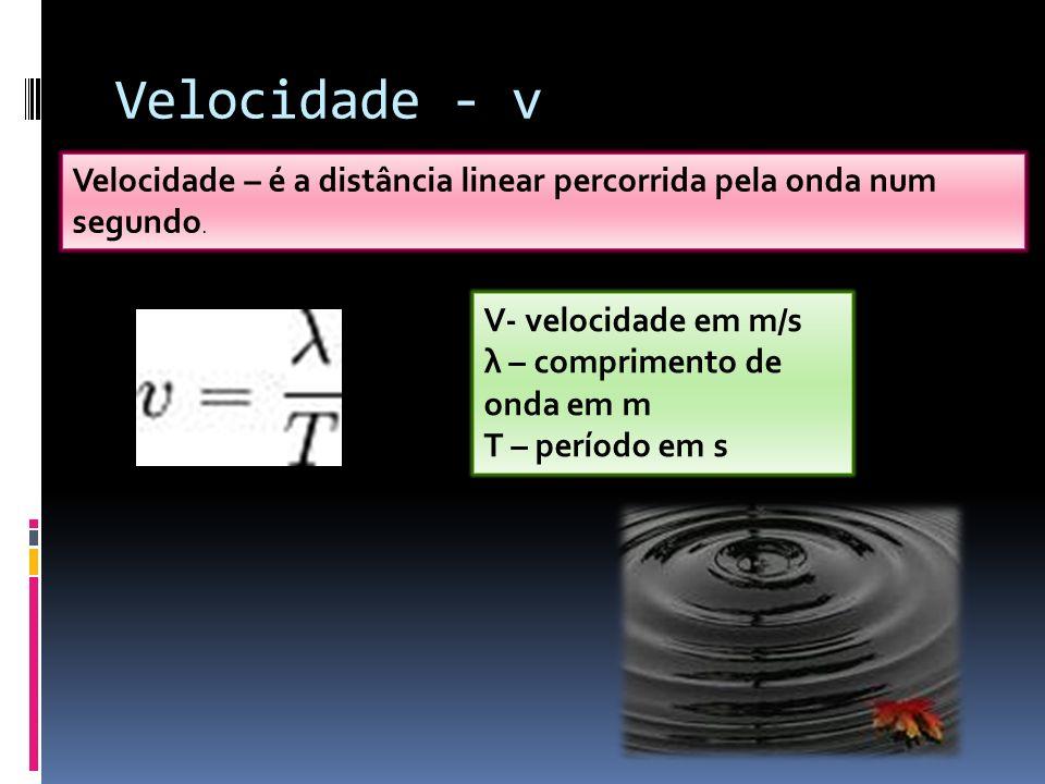 Velocidade - v Velocidade – é a distância linear percorrida pela onda num segundo. V- velocidade em m/s λ – comprimento de onda em m T – período em s