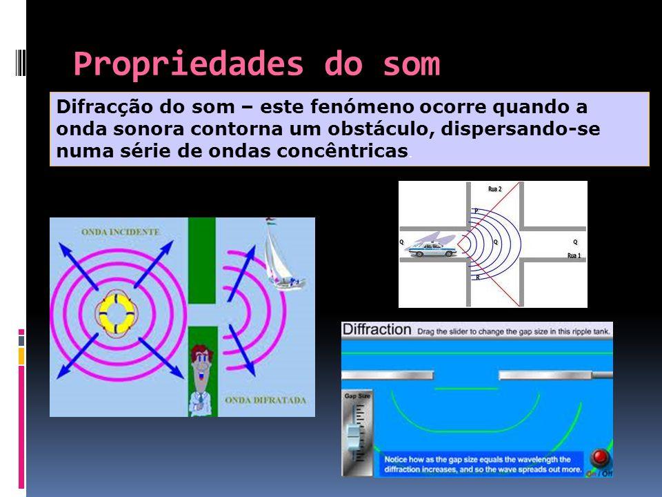 Propriedades do som Difracção do som – este fenómeno ocorre quando a onda sonora contorna um obstáculo, dispersando-se numa série de ondas concêntrica