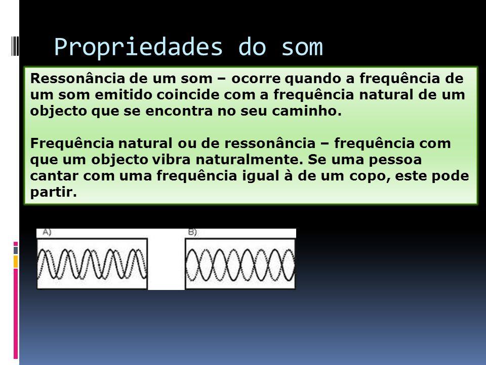 Propriedades do som Ressonância de um som – ocorre quando a frequência de um som emitido coincide com a frequência natural de um objecto que se encont