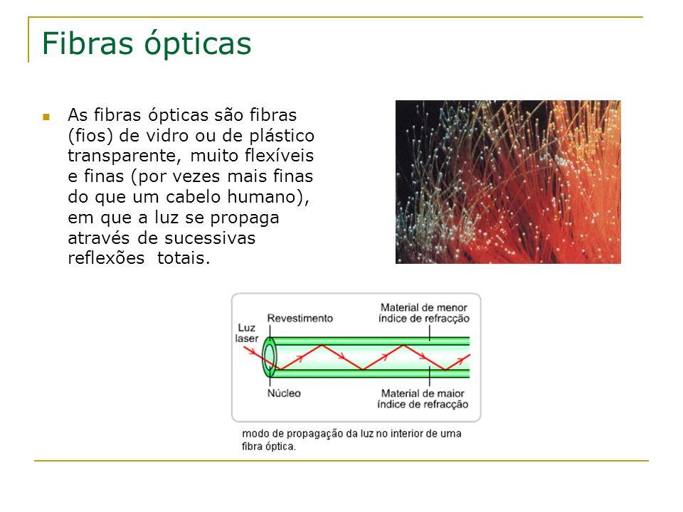 Fibras ópticas As fibras ópticas são fibras (fios) de vidro ou de plástico transparente, muito flexíveis e finas (por vezes mais finas do que um cabel