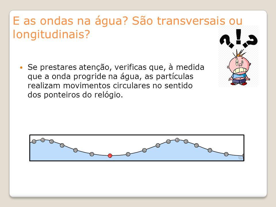 E as ondas na água? São transversais ou longitudinais? Se prestares atenção, verificas que, à medida que a onda progride na água, as partículas realiz