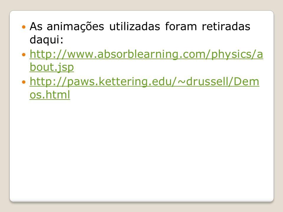 As animações utilizadas foram retiradas daqui: http://www.absorblearning.com/physics/a bout.jsp http://www.absorblearning.com/physics/a bout.jsp http://paws.kettering.edu/~drussell/Dem os.html http://paws.kettering.edu/~drussell/Dem os.html