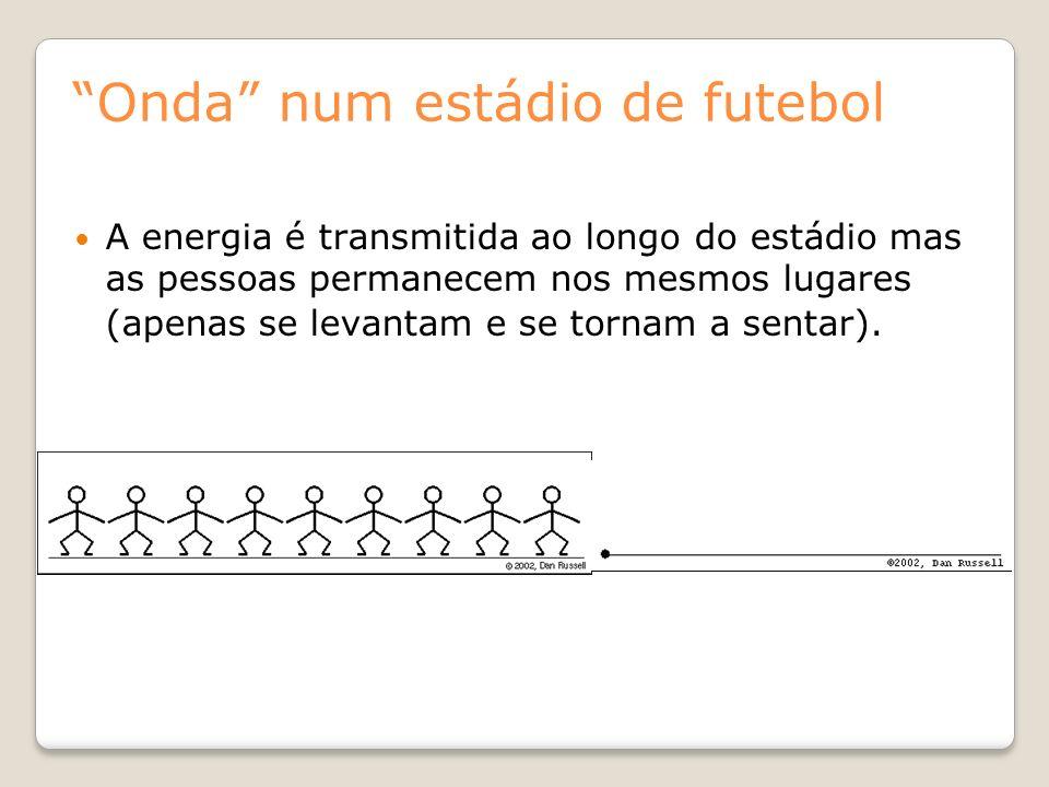 Onda num estádio de futebol A energia é transmitida ao longo do estádio mas as pessoas permanecem nos mesmos lugares (apenas se levantam e se tornam a