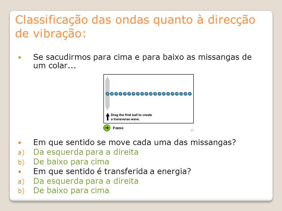 Classificação das ondas quanto à direcção de vibração: Se sacudirmos para cima e para baixo as missangas de um colar... Em que sentido se move cada um