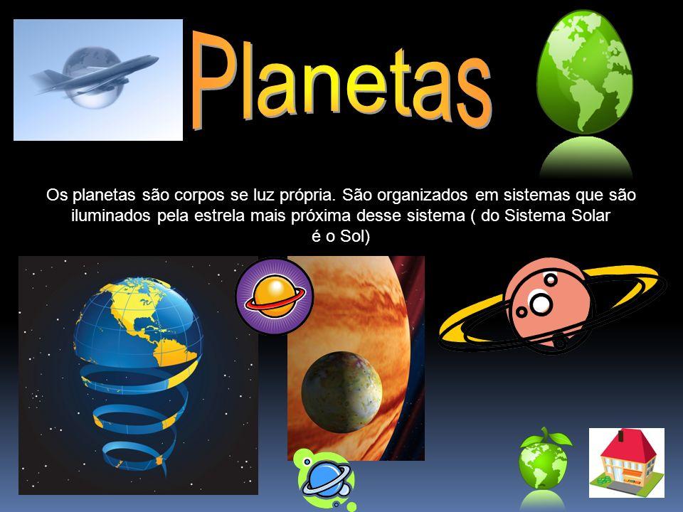 Os planetas são corpos se luz própria. São organizados em sistemas que são iluminados pela estrela mais próxima desse sistema ( do Sistema Solar é o S