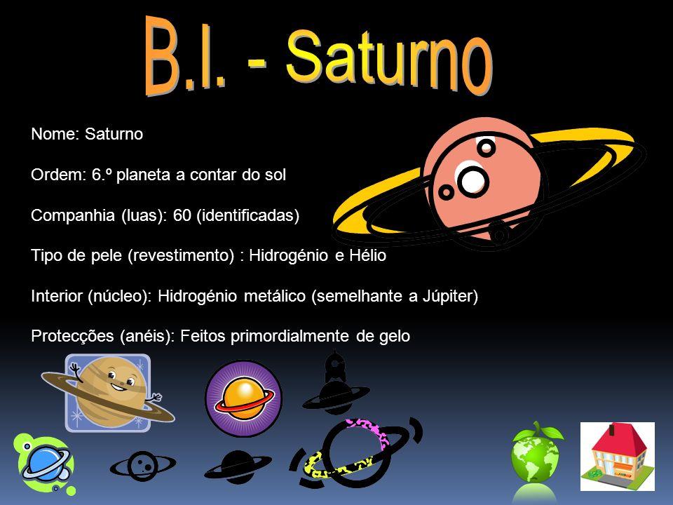 Nome: Saturno Ordem: 6.º planeta a contar do sol Companhia (luas): 60 (identificadas) Tipo de pele (revestimento) : Hidrogénio e Hélio Interior (núcle