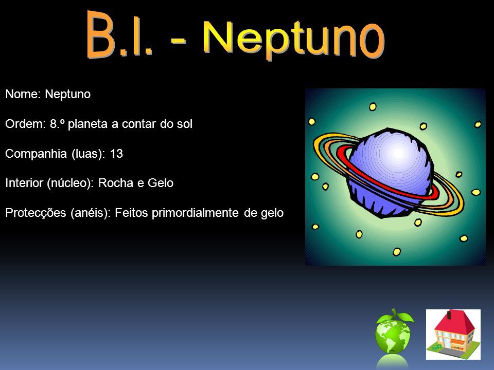 Nome: Neptuno Ordem: 8.º planeta a contar do sol Companhia (luas): 13 Interior (núcleo): Rocha e Gelo Protecções (anéis): Feitos primordialmente de ge