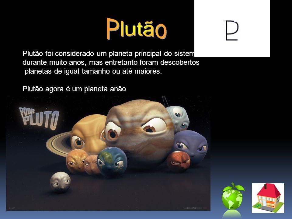 Plutão foi considerado um planeta principal do sistema solar durante muito anos, mas entretanto foram descobertos planetas de igual tamanho ou até mai