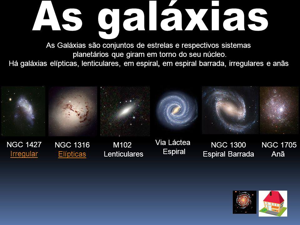 As Galáxias são conjuntos de estrelas e respectivos sistemas planetários que giram em torno do seu núcleo. Há galáxias elípticas, lenticulares, em esp